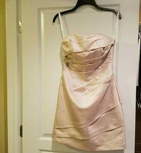 Strapless satin champagne dress